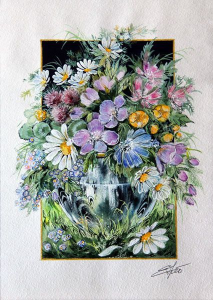 Картины - Графика - Букетик полевых цветов (Бумага, акварель, карандаш, перо)