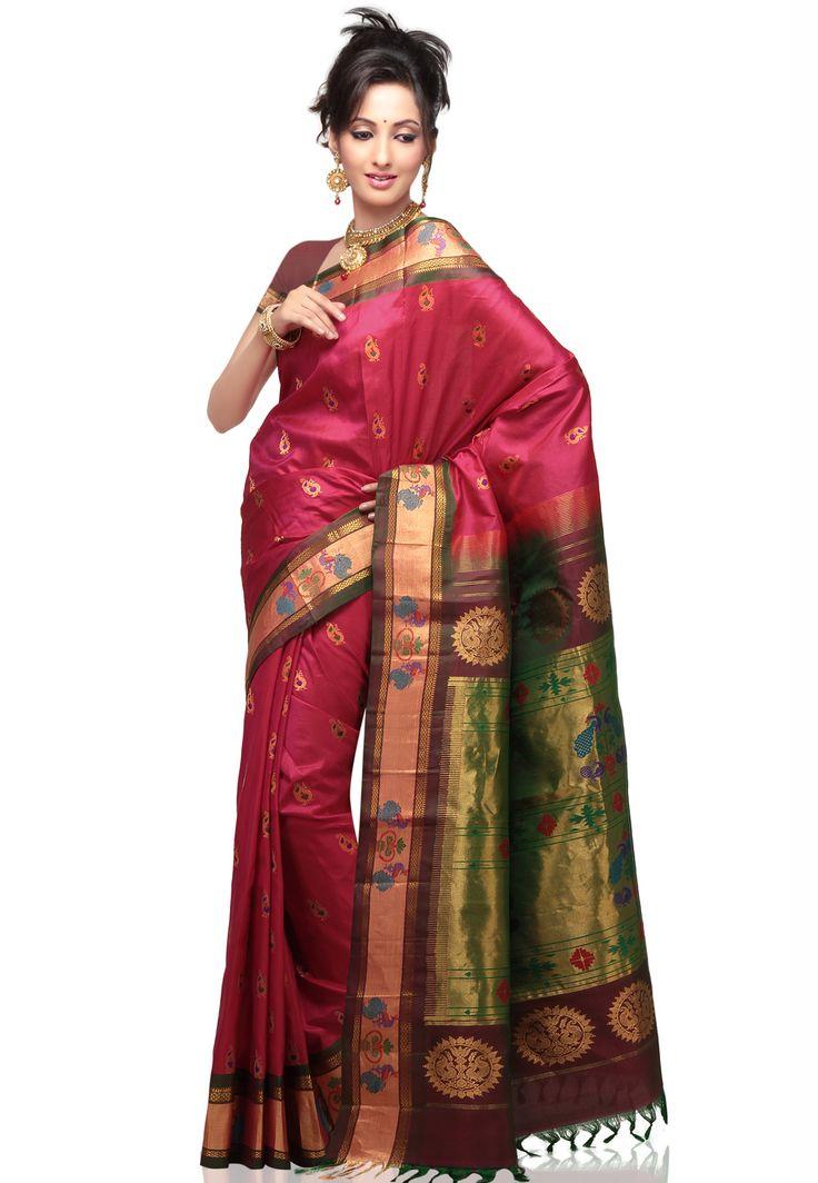 Rani Pink Pure Handloom Paithani Silk Saree