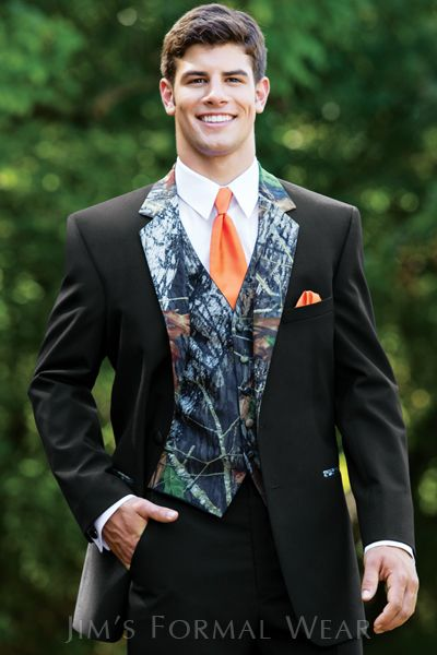 Camo Tux With Orange Windsor Tie Tuxedo Rental Wedding