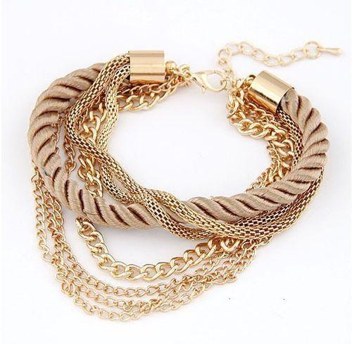 Pulsera Brazalete Cordón Varios Colores Pulsera muy elegante con cordón y cadenas doradas Se ajusta a tu brazo.