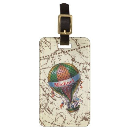#Hot Air Balloon Floats on Zodiac Sky Personalize Luggage Tag - #travel #accessories