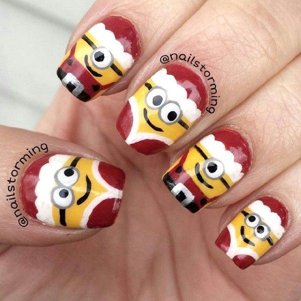 Santa Minion Christmas Nail Art Design  Read more at: