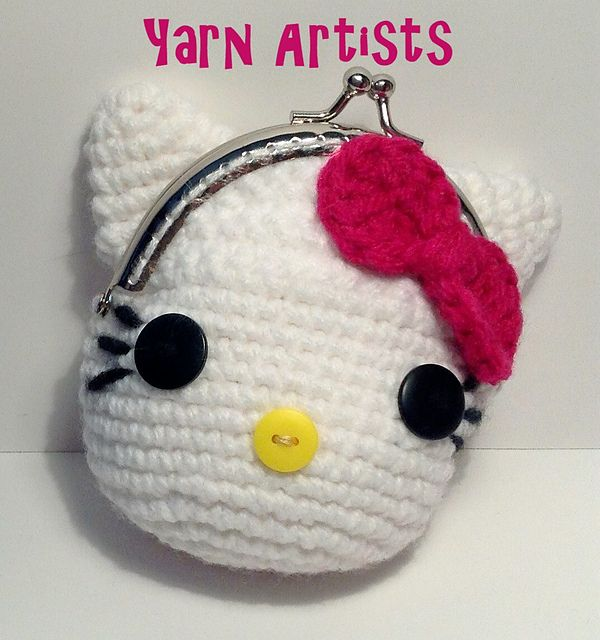 Free Ravelry Download. Ravelry: Little Kitty ( Hello Kitty Inspired) Coin Purse Pattern pattern by Yarn Artists