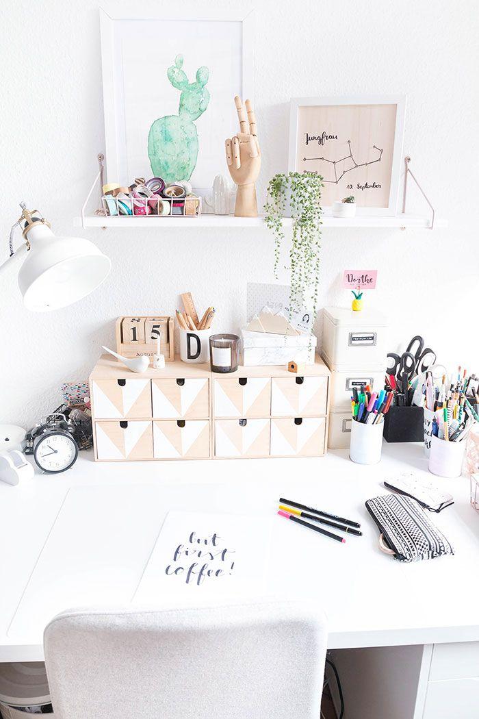 Arbeitszimmer Mit DIY Deko | Schreibtisch Skandinavisch Boho
