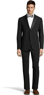 Giorgio Armani  Black Wool Silk-trimmed Two-button 'm-line' Suit With Flat Front Pants