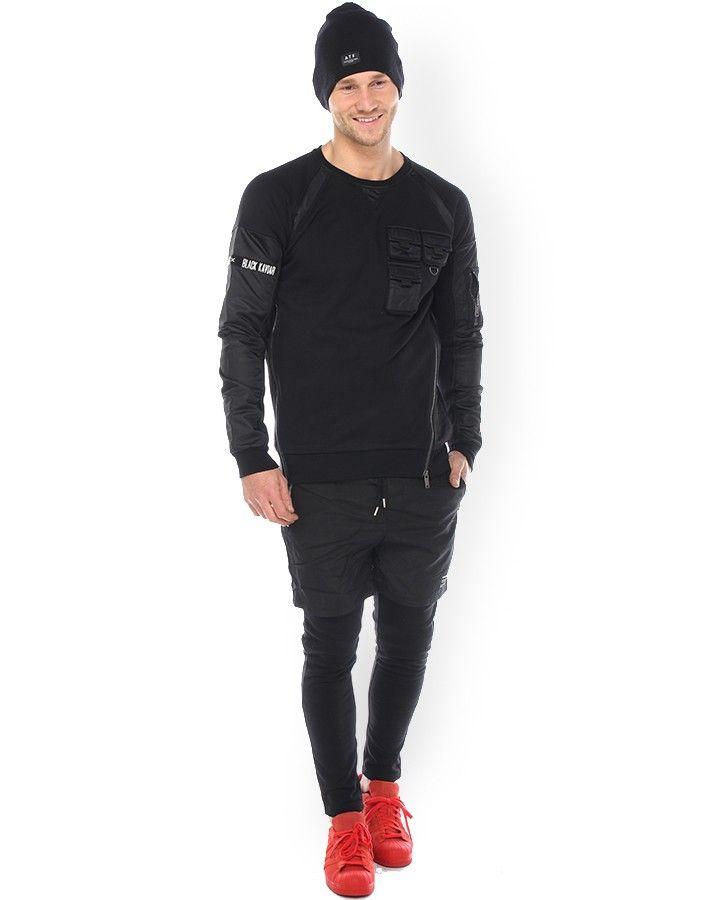 Black Kaviar Sweater Schwarz  schwere Qualität mit Materialeinsätzen Aufgesetzte Taschen an Brust und Arm Reißverschlussdetails