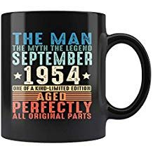 1954 September 64th Birthday Gifts The Man Myth Legend Black 64 Years Old Coffee Mug 11oz Tea Cup Funny Gift For Men Women Vintage Retro