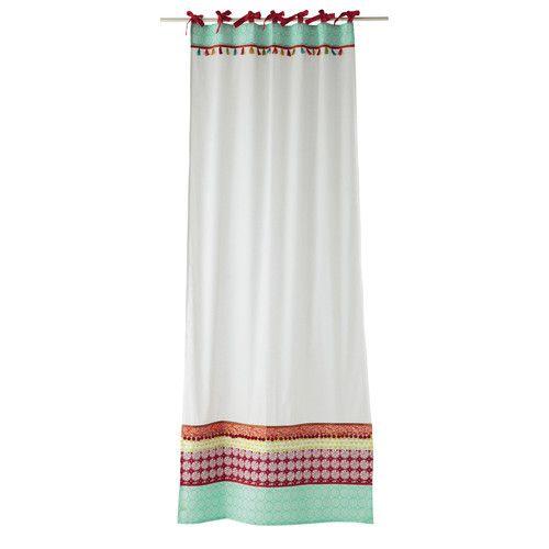 Rideau à nouettes en coton blanc 110 x 250 cm PINKPLANET