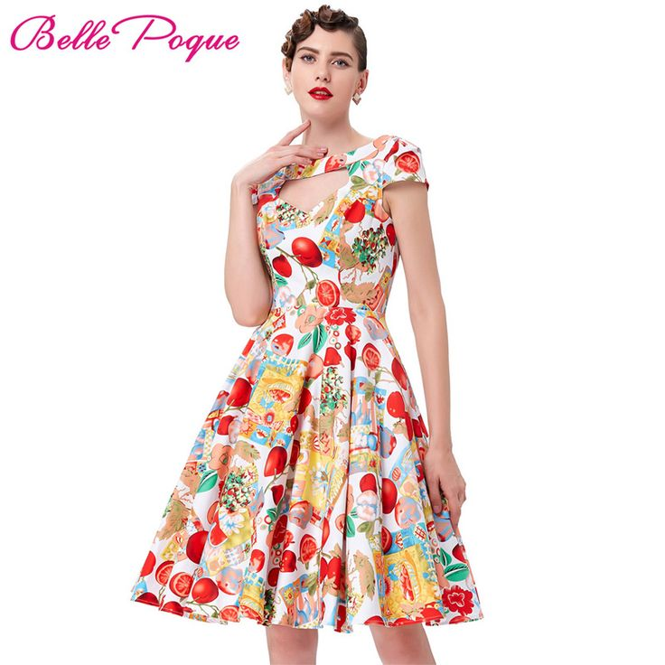 Summer Short Sleeve Hollowed Retro Vintage Rockabilly Dress 2017 Hollowed Front Cotton Floral Printed 50s Picnic Dress for Women