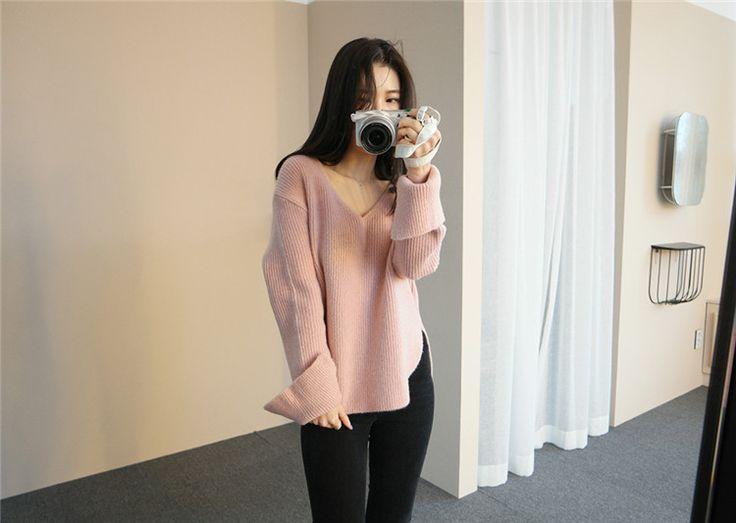 レディースファッション通販ニットセーターvネック 韓国ファッション