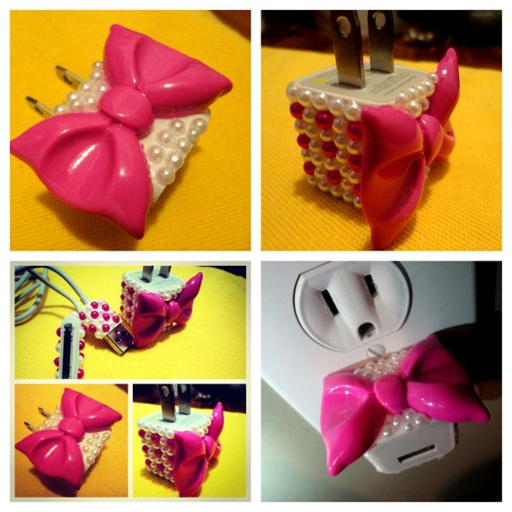 PINK Bow iphone   ipod charger big bow and pink by Flawlesscases, $20.00