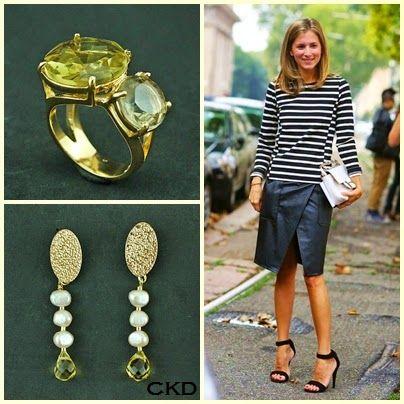 Brincos com pérolas barrocas e gota de citrino e anel com quartzo green gold!www.ckdsemijoias.com.br