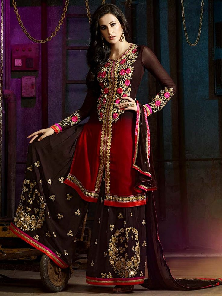 Style and luxury is specially created for your personality.  Item Code: SLKE30866 http://www.bharatplaza.com/new-arrivals/palazzo-suits.html