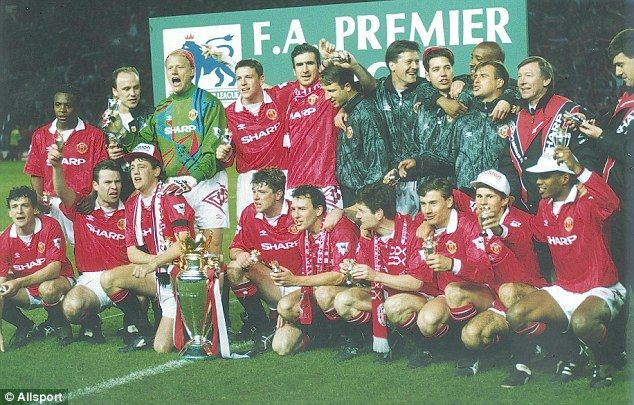 The Manchester United players celebrate winning the Premier League title in May 1993