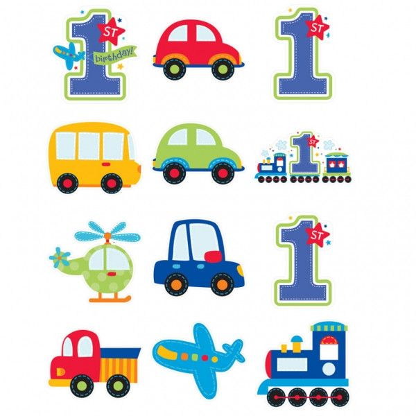 All Aboard Birthday Cutouts Pack| 12 ct