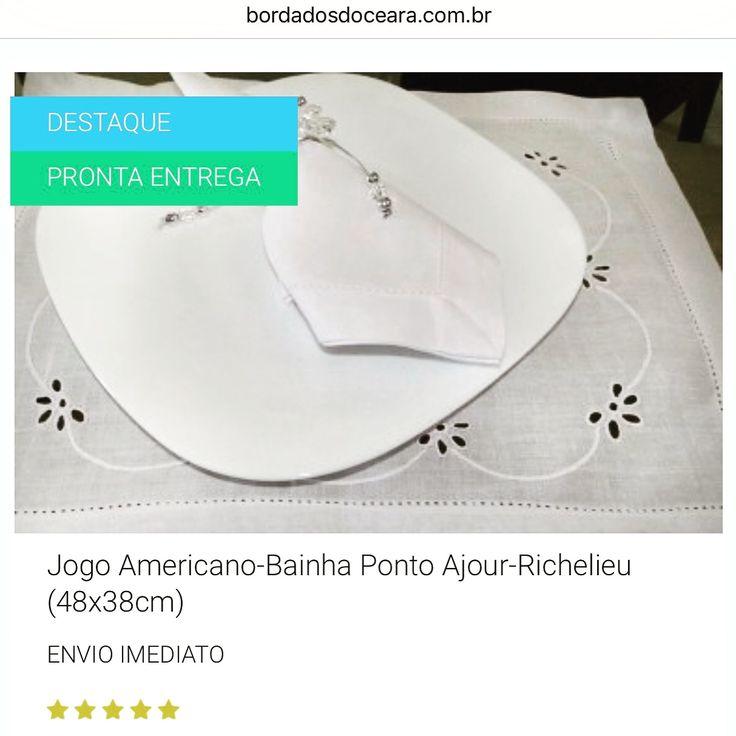👉 ENVIO IMEDIATO/ 👍😃😍 👉 JOGO AMERICANO-BAINHA PONTO AJOUR-RICHELIEU (48X38CM)  👉 Tecido Cambraia de Linho Rami.  👉 Detalhe Bordado Richelieu.  👉 Alta qualidade.  📱WhatsApp 85 98959.9107  💻 http://www.bordadosdoceara.com.br/produtos/mesa/jogo-americano-bainha-ponto-ajour-richelieu-detail.html