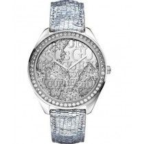 GUESS Crystals Silver Leather Strap W0503L1