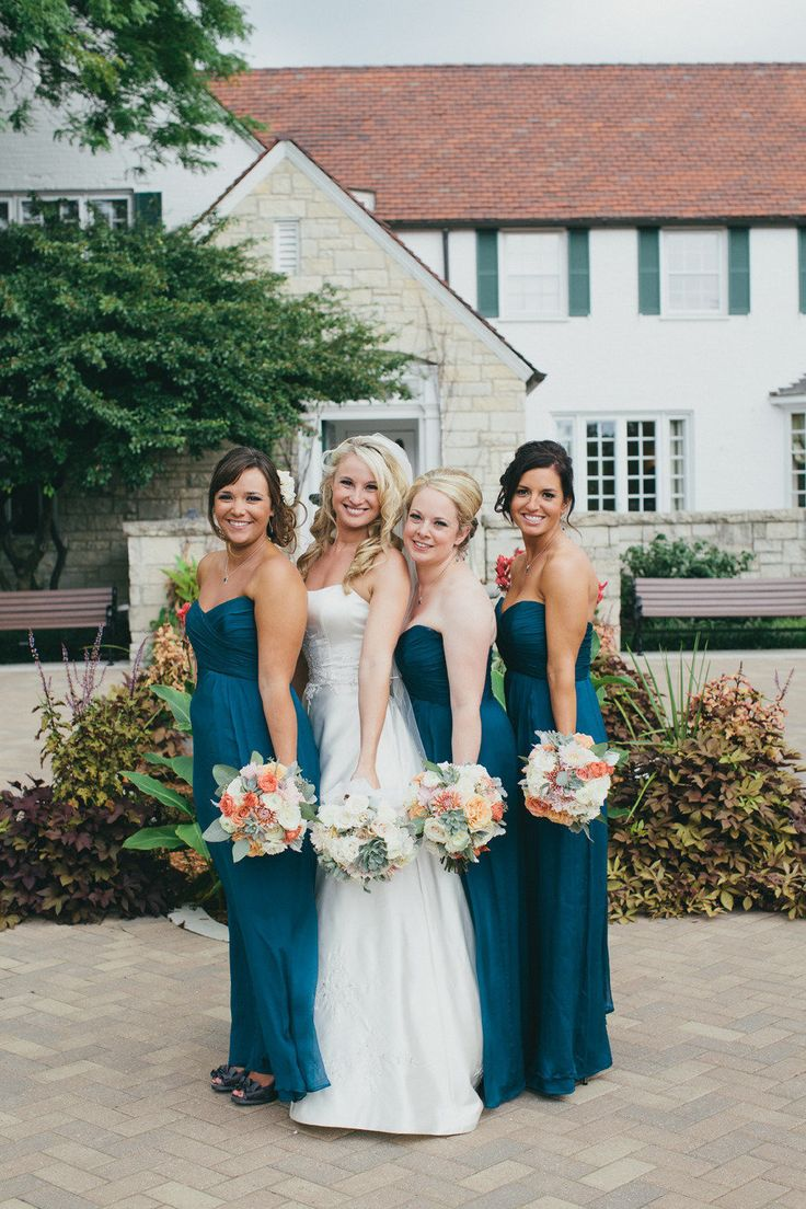 Love the teal Bridesmaid dresses!  Photography by chrystlrobergephotography.com Floral + Event Design by facebook.com/perfectpick  Read more - http://www.stylemepretty.com/2013/08/20/vintage-wedding-in-wheaton-illinois-from-chrystl-roberge-photography/