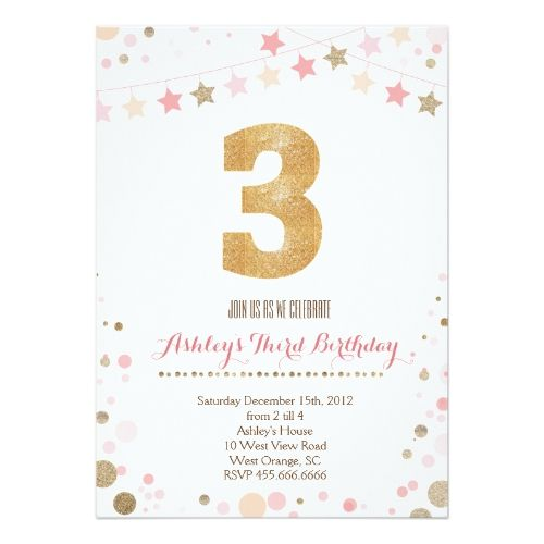 131 best glitter birthday party invitations images on pinterest glitter birthday party invitations gold glitter third birthday invitation stopboris Image collections