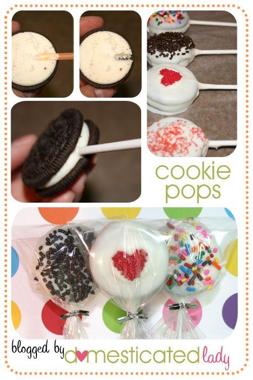 Cookie Pops: Girls Schools, Cakes Pop, Parties Favors, Baseb Snacks, Oreo Pop, Weights Loss, Food Recipe, Cookies Pop, Baby Shower