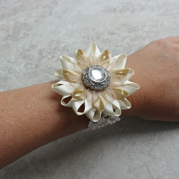Beige Wrist Corsage - Beige Wedding Flowers