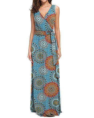 POKWAI Women's Sleeveless Casual Beach Long Maxi Dress – Women Dresses
