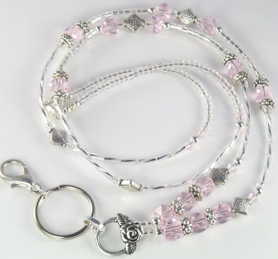 Beaded Lanyard PINK SUNSET glass id badge holder by curlynetto, $21.99