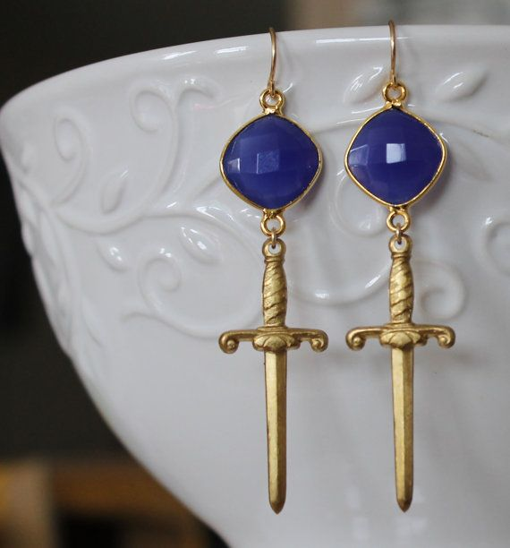 Brass Swords hanging from Sapphire Blue square gemstone by NHjewel, $35.00