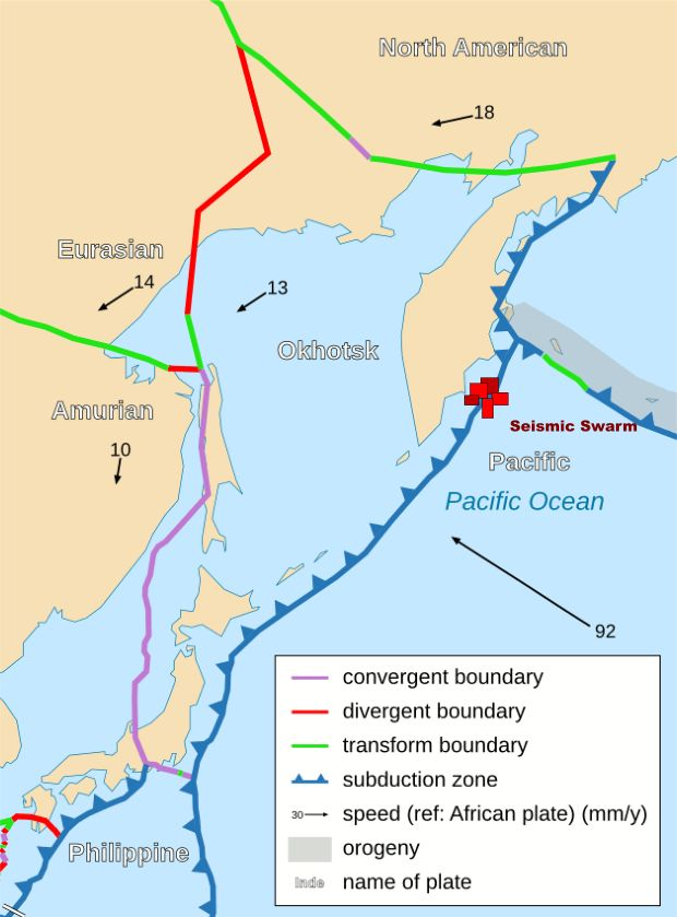 Tension mounting on Pacific Plate: region of Kamchatka rocked by scores of earthquakes