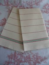 PAIR OF UNUSED VINTAGE FRENCH LINEN TORCHONS / TEA TOWELS-Ideal for Roman Blinds - $8.30