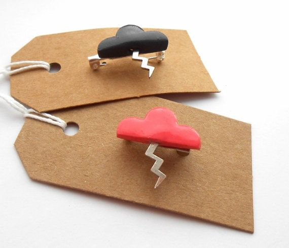 Storm cloud brooches by #Sweetiepips on Etsy