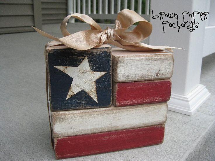 flag blocks: Crafts Ideas, July Crafts, Wood Blocks, 4Th Of July, July 4Th, Wooden Blocks, Flags Blocks, Diy, Brown Paper Packaging