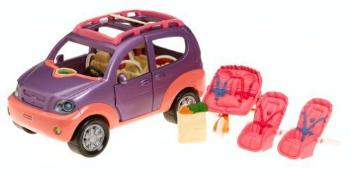 "Loving Family SUV by Fisher Price. $133.33. Age Range 3 to 12 Years. The horn really honks and the ""radio"" plays one of three songs. It includes a contemporary double jogging stroller, two car seats, and two bags of groceries. New SUV fits in Dollhouse Garage. When the driver door opens the interior lights come on. From the Manufacturer                The new family SUV compliments the realistic play of the Loving Family Dollhouse with lights and sounds. When the driver doo..."