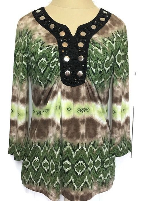 New Directions Top Blouse Medium Ruched Stretch Tie-dyed Embellished  #NewDirections #VNeckRuchedBustline