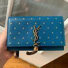 SAINT LAURENT YSL Calfskin Star Print Monogram Kate Tassel Chain Wallet BLUE #Wo…