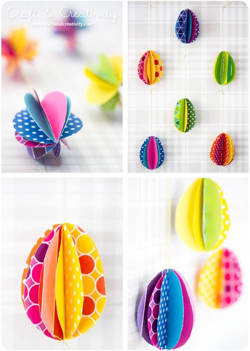 DIY Colorful Paper Eggs Tutorial and Template from Craft and Creativity here. -easy cause you staple them! Could be even easier if you used a large punch or cricut.