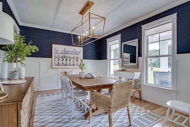 Dining Room Wallpaper Above Wainscoting, Navy Grasscloth Wallpaper Dining Room
