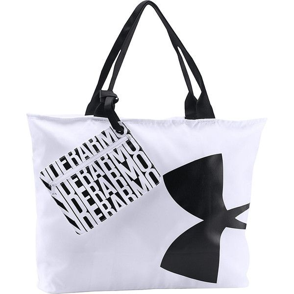 Under Armour Big Logo Tote - White/Black/Black - All Purpose Totes ($24) ❤ liked on Polyvore featuring bags, handbags, tote bags, white, white and black purse, black and white purse, black and white tote bag, under armour and handbags totes