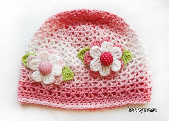 Летняя шапочка для девочки 4-5 лет. Вязание крючком,шапки,детские шапки,детские шапочки,вязание,вязание крючком,крючок №2.5