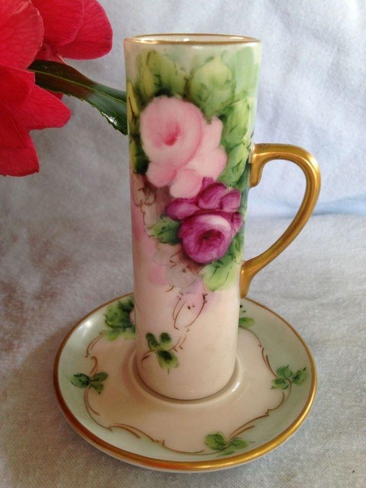 Rare Antique C Durflinger Bavarian Porcelain Tea Cup Set Roses Ribbon Gold Touch