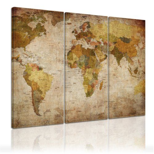 bilderdepot24 d co murale carte du monde 120x80cm ensemble de 3 toiles tendues sur ch ssis. Black Bedroom Furniture Sets. Home Design Ideas