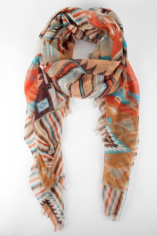 Natalie Aztec Print Scarf in Turquoise $11 at www.tobi.com