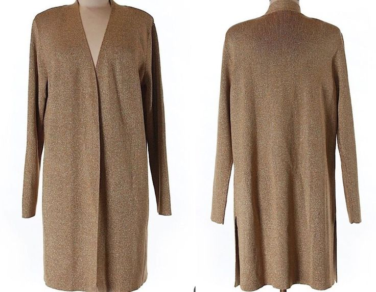 ��QVC SUSAN GRAVER Duster Cardigan Sweater Top Gold Metallic Holiday Women Med  | eBay