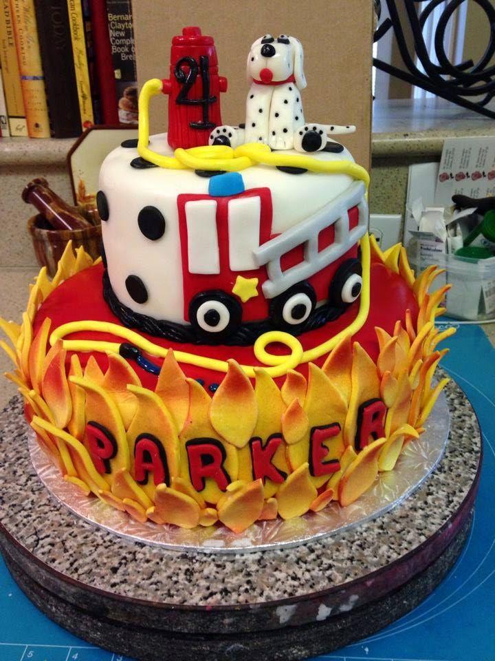 Firetruck cake; fireman cake
