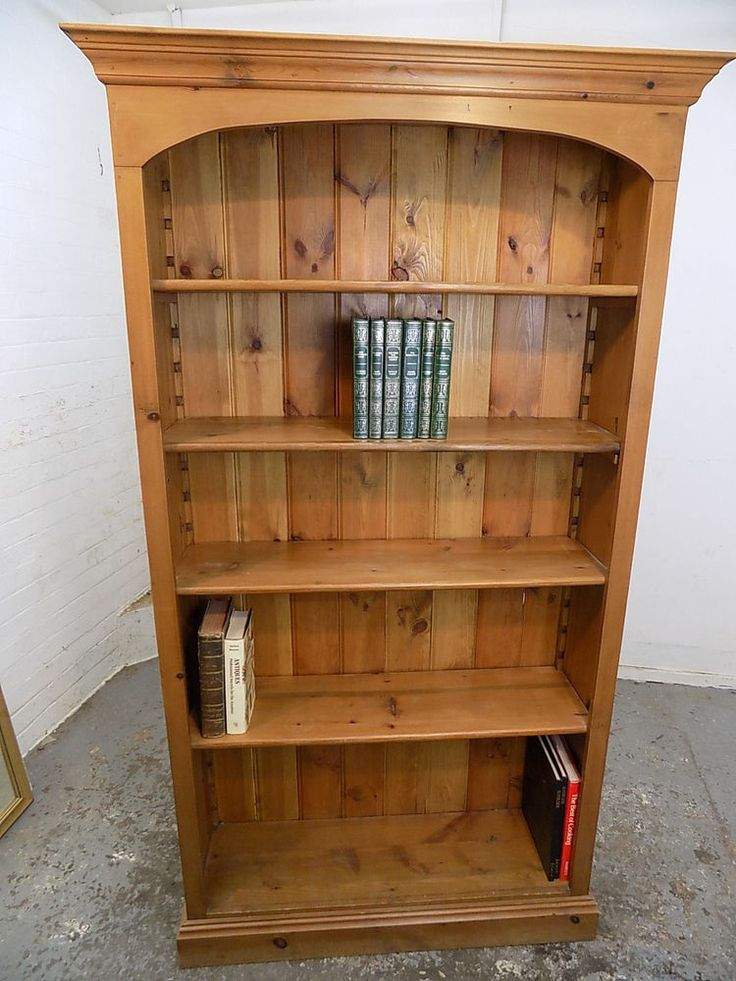 Details About Tall Slim Pine Open Front Bookcase Shelves Adjule 5