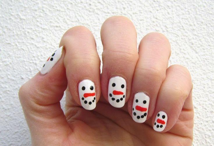 Sannes nails 2015. Snowmen made with a dotting tool upon Sally Hansen's  Bleach Babe.