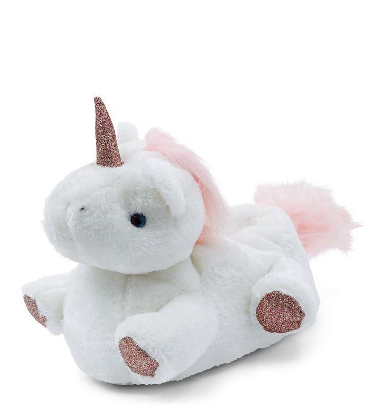White Unicorn Slippers   New Look