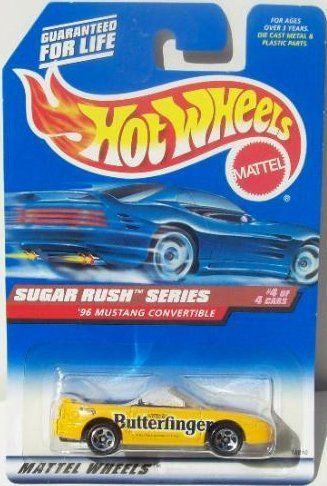 Mattel Hot Wheels 1998 1:64 Scale Sugar Rush Series 1996 Butterfinger Ford Mustang Convertible Die Cast Car 4/4 by Mattel. $4.99. Mattel Hot Wheels 1998 1:64 Scale Sugar Rush Series 1996 Butterfinger Ford Mustang Convertible Die Cast Car 4/4