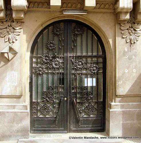 Art Deco style doorways, dating from the early 1930s, Magheru area, Bucharest.