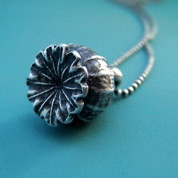 Poppy Pod Necklace  Sterling Silver by esdesigns on Etsy